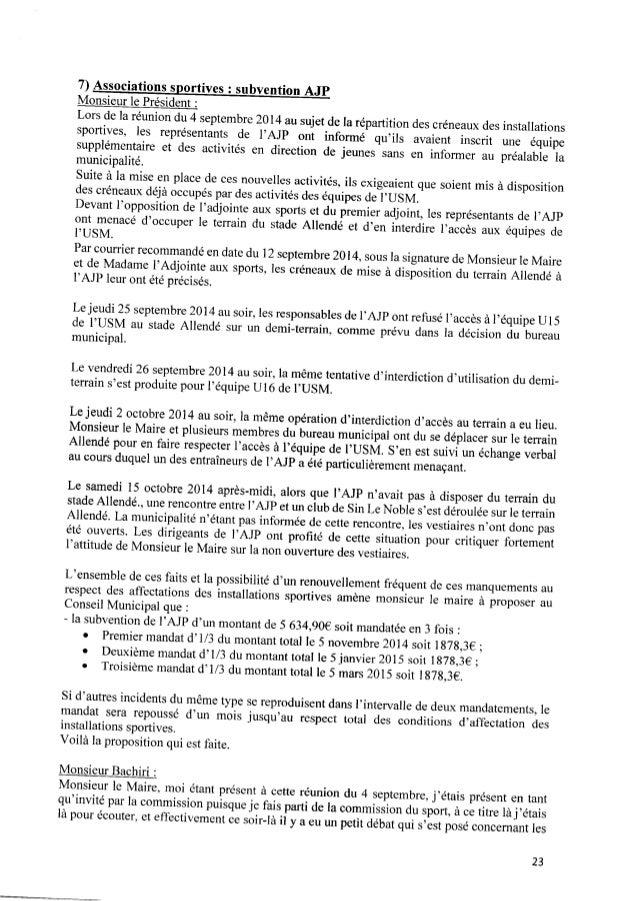 7) Associations sportives : subvention AJP Monsieur le Président : Lors delaréuniondu4 septembre 2014 ausujet dela réparti...