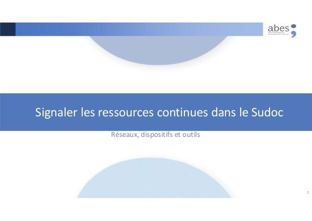 Signaler les ressources continues dans le Sudoc Réseaux, dispositifs et outils 1