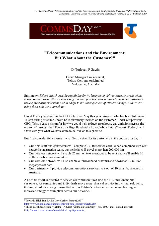 """T.F. Guerin (2009) """"Telecommunications and the Environment: But What About the Customer?"""" Presentation to the CommsDay Con..."""