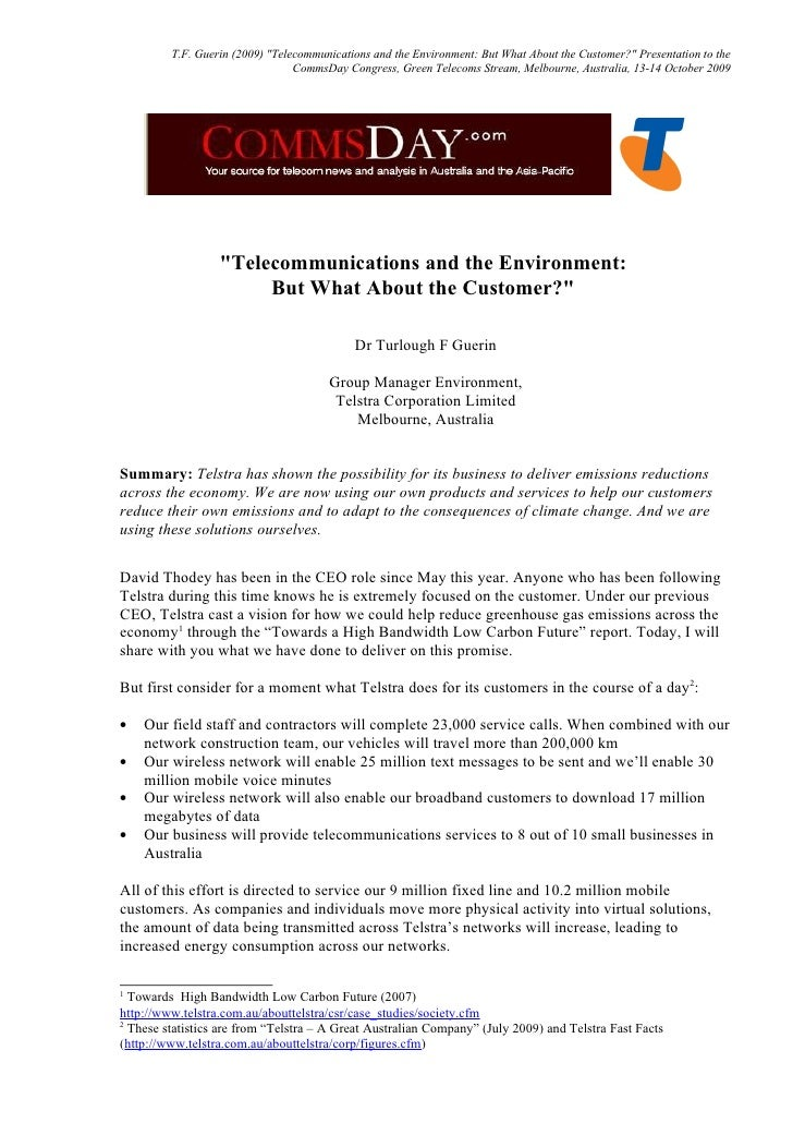 "T.F. Guerin (2009) ""Telecommunications and the Environment: But What About the Customer?"" Presentation to the             ..."