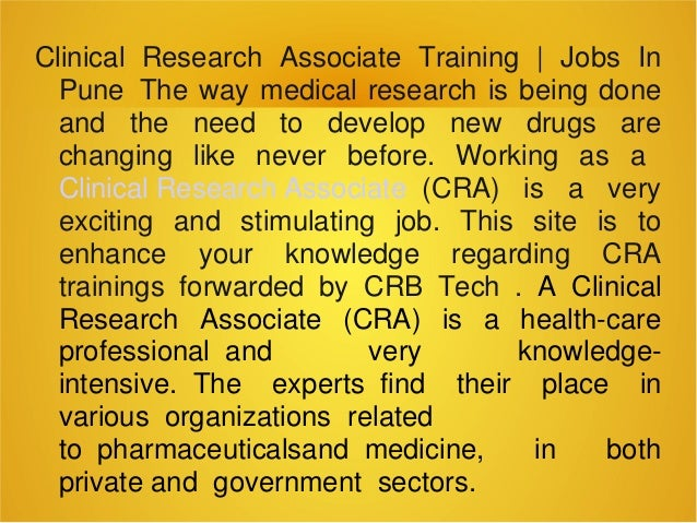 Clinical research associate training jobs in pune for Cra clinical research associate