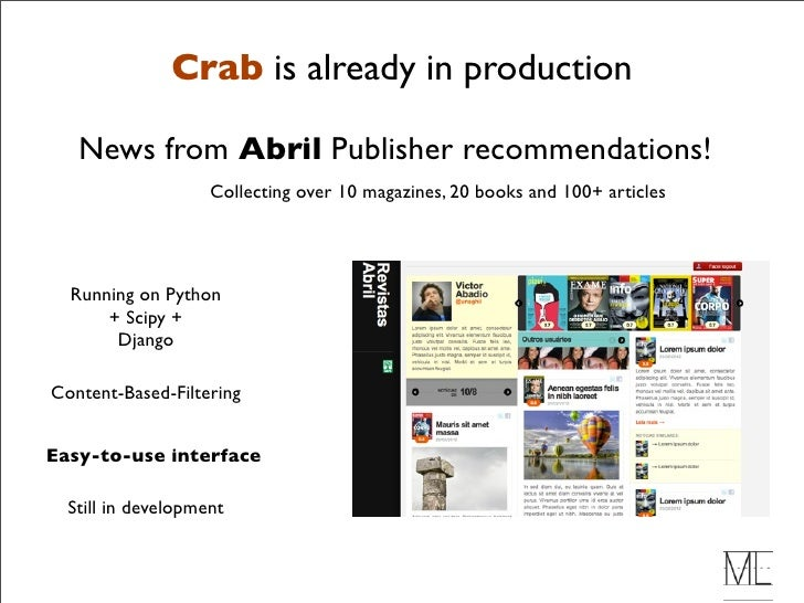 Crab: A Python Framework for Building Recommender Systems