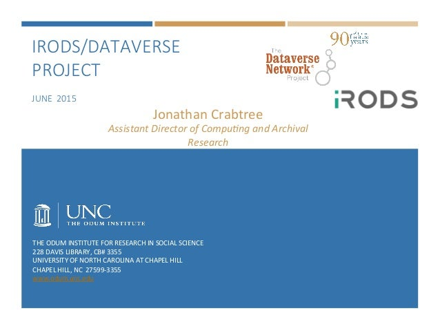 IRODS/DATAVERSE  PROJECT    JUNE  2015 THE  ODUM  INSTITUTE  FOR  RESEARCH  IN  SOCIAL  SCIENCE   228...