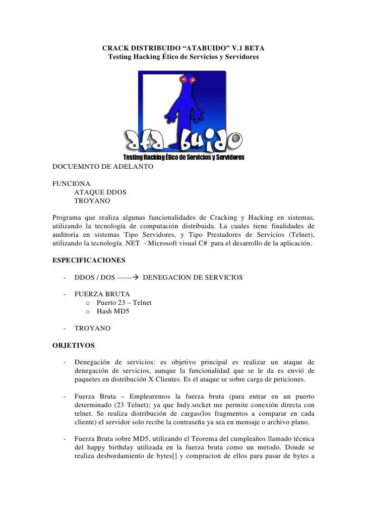 """CRACK DISTRIBUIDO """"ATABUIDO"""" V.1 BETA                  Testing Hacking Ético de Servicios y Servidores     DOCUEMNTO DE AD..."""