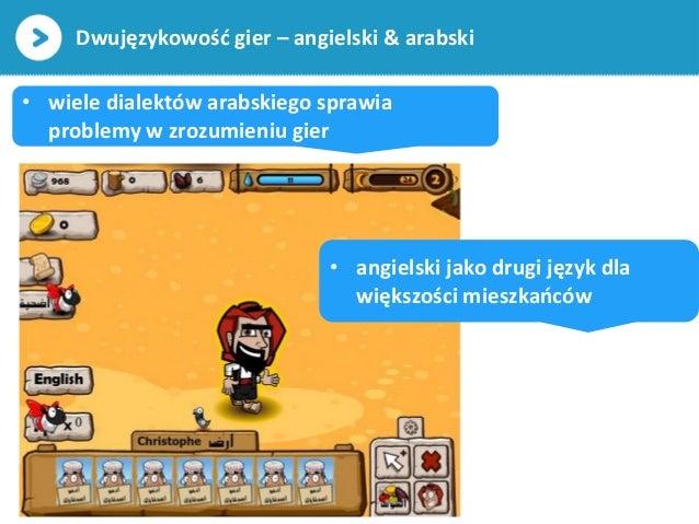 Dwujęzykowość gier – angielski & arabski• wiele dialektów arabskiego sprawiaproblemy w zrozumieniu gier• angielski jako dr...