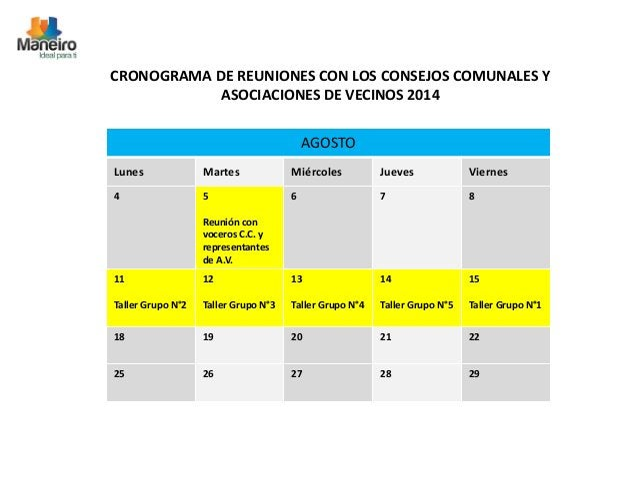 CRONOGRAMA DE REUNIONES CON LOS CONSEJOS COMUNALES Y  ASOCIACIONES DE VECINOS 2014  AGOSTO  Lunes Martes Miércoles Jueves ...