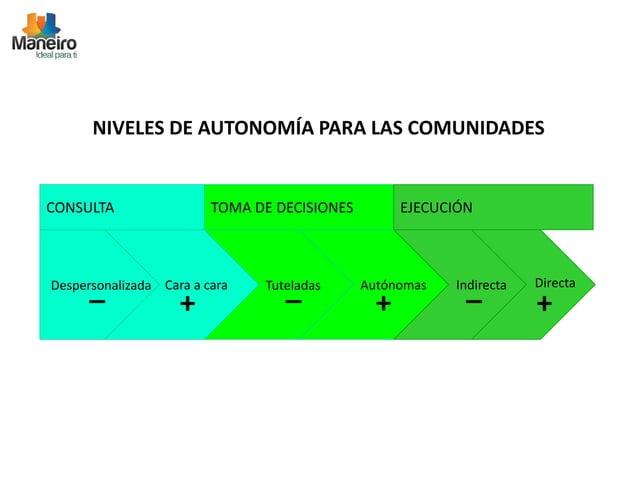 NIVELES DE AUTONOMÍA PARA LAS COMUNIDADES  CONSULTA TOMA DE DECISIONES EJECUCIÓN  Despersonalizada  _ Cara a cara  +  Tute...