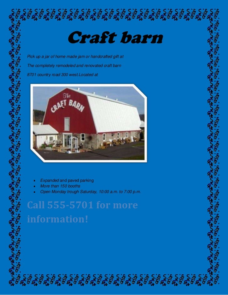 Craft barn<br />Pick up a jar of home made jam or handcrafted gift at<br />The completely remodeled and renovated craft ba...