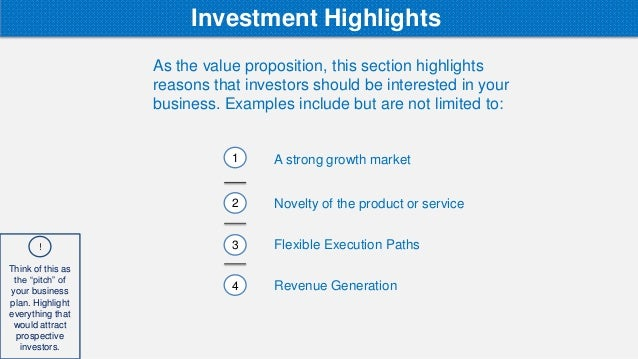 Growth highlights in a business plan