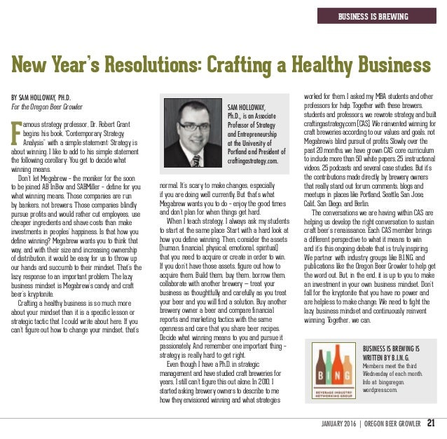 JANUARY 2016 | oregon beer growler 21 business is brewing New Year's Resolutions: Crafting a Healthy Business Business is ...