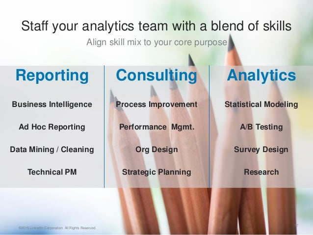 Align skill mix to your core purpose 17 Reporting Business Intelligence Ad Hoc Reporting Data Mining / Cleaning Techn...