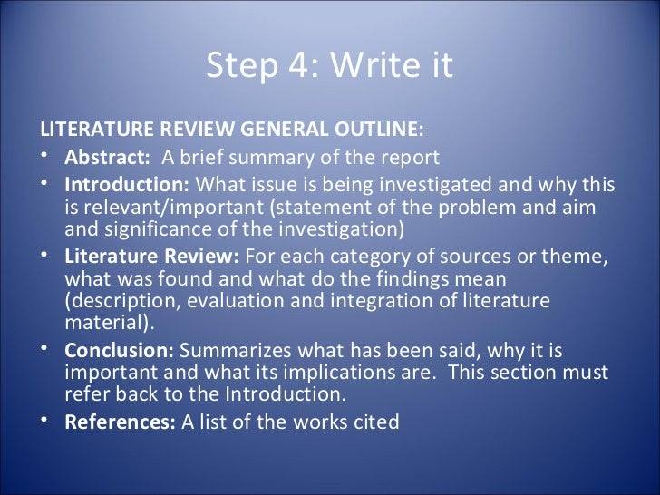 literature review apa outline