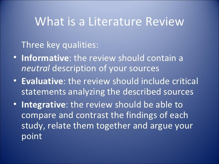 what does a literature review contain
