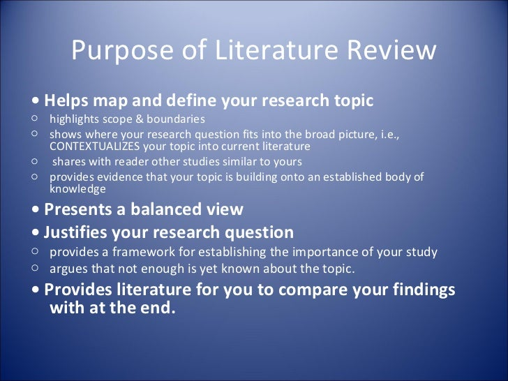 purpose of literature review in research paper