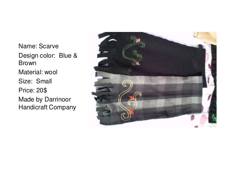 Name: ScarveDesign color: Blue &BrownMaterial: woolSize: SmallPrice: 20$Made by DarrinoorHandicraft Company