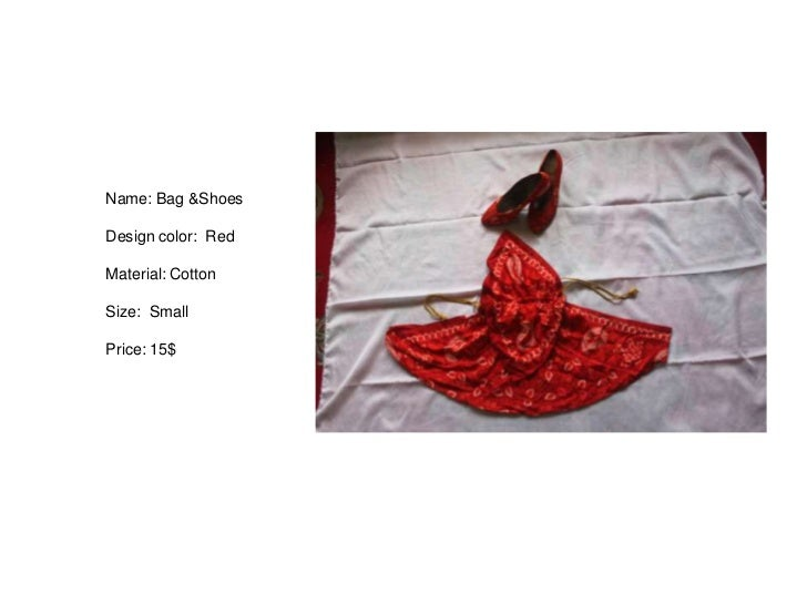 Name: Bag &ShoesDesign color: RedMaterial: CottonSize: SmallPrice: 15$