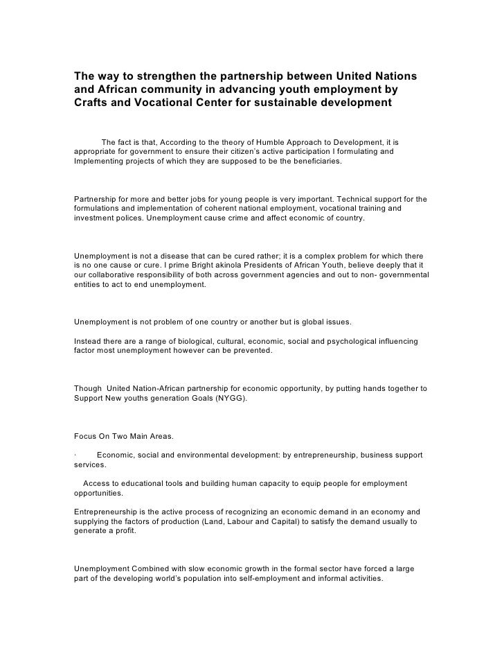 The way to strengthen the partnership between United Nationsand African community in advancing youth employment byCrafts a...