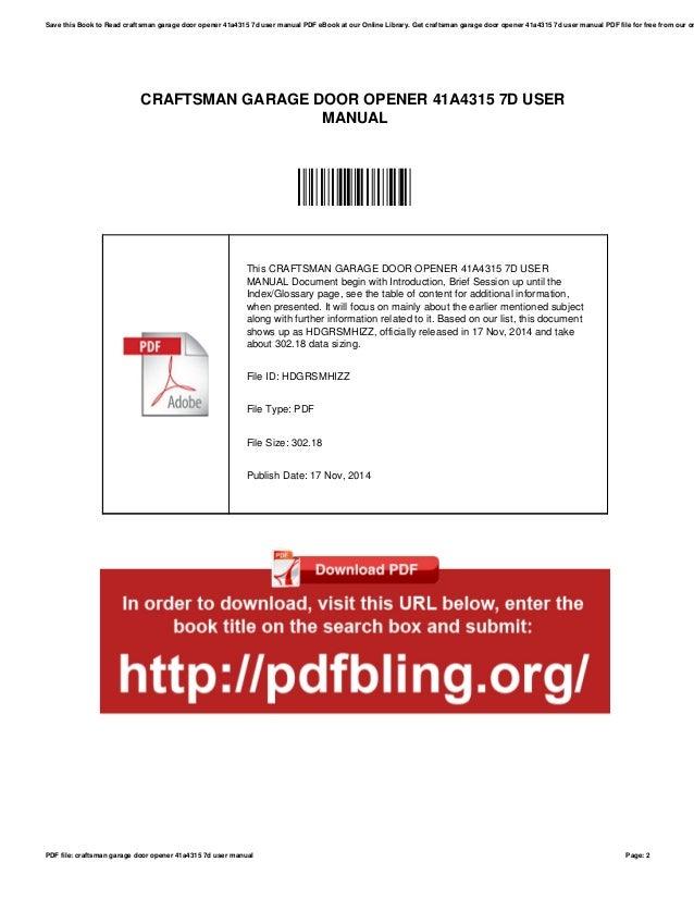Craftsman Garage Door Opener 41a4315 7d User Manual