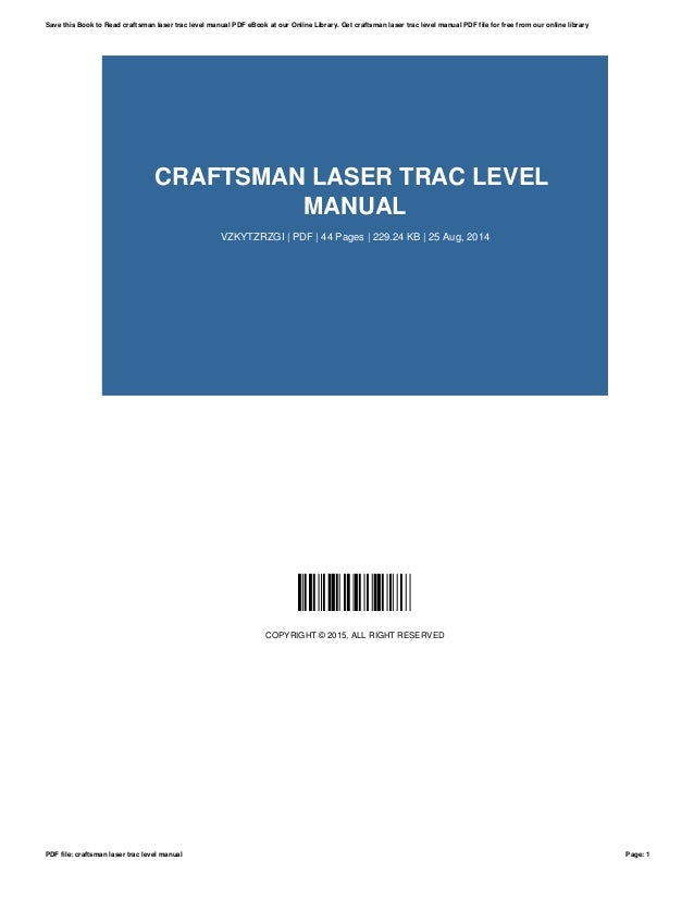 craftsman laser trac level manual rh slideshare net Craftsman 320.48249 Palm Grip Laser Level Craftsman