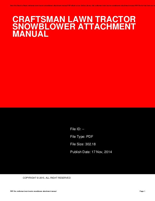 craftsman lawn tractor snowblower attachment manual rh slideshare net Used Craftsman Tractor Attachments Craftsman 42 Lawn Tractor Manual