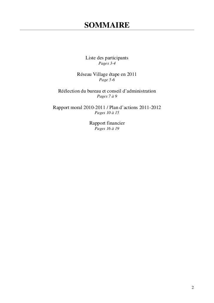 SOMMAIRE               Liste des participants                     Pages 3-4           Réseau Village étape en 2011        ...