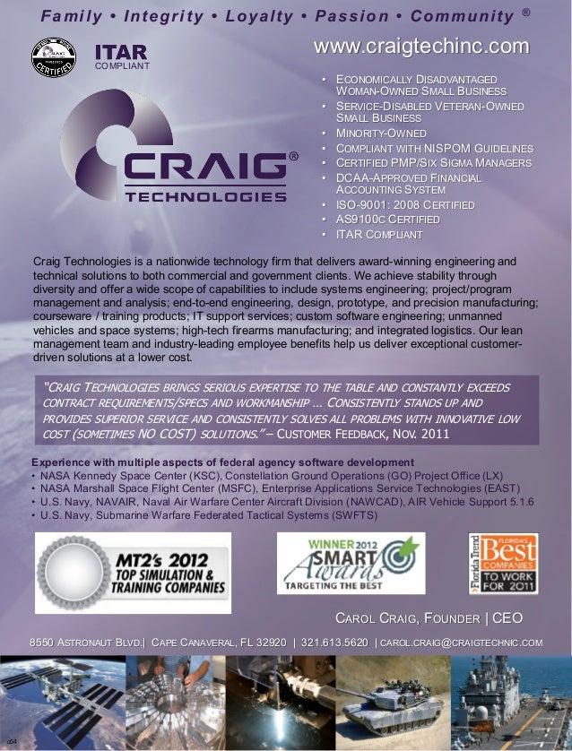c04 COMPLIANT www.craigtechinc.com CAROL CRAIG, FOUNDER | CEO Family • Integrity • Loyalty • Passion • Community ® 8550 AS...