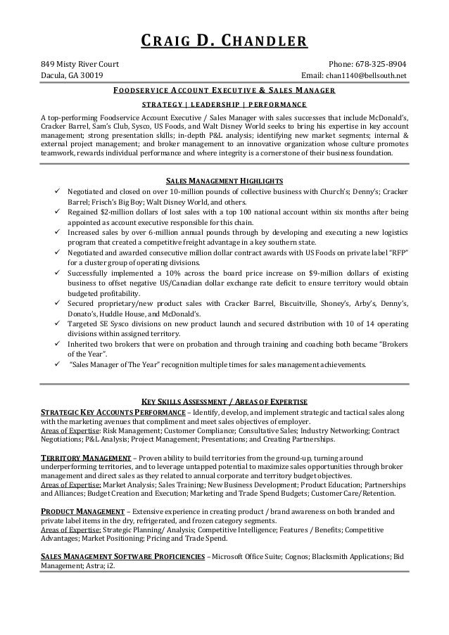 C R A I G D. C H A N D L E R849 Misty River Court ...  Food Service Resume