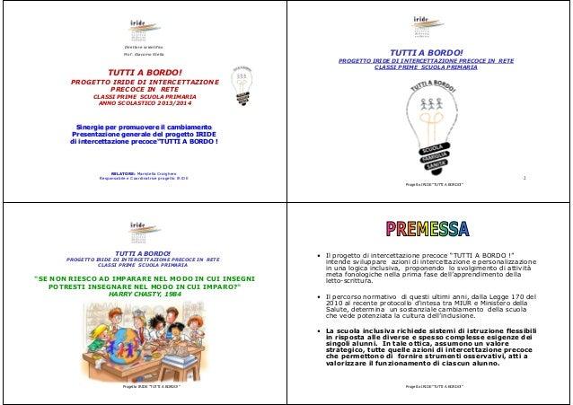 Direttore scientifico Prof. Giacomo Stella  TUTTI A BORDO!  TUTTI A BORDO! PROGETTO IRIDE DI INTERCETTAZIONE PRECOCE IN RE...