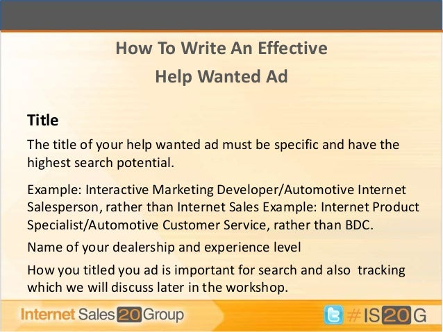 writing a help wanted ad