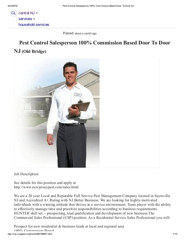 Pest Control Sales 100% Commission up to $40,000 NJ 732-284-3807 - Sa…