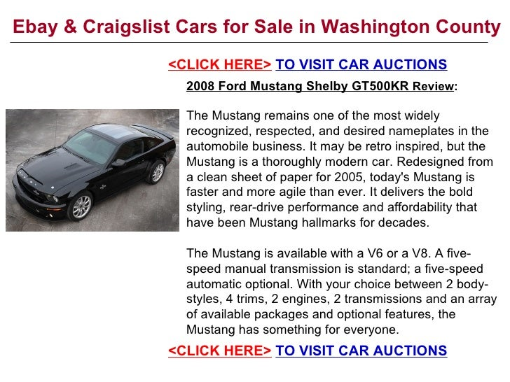 Ebay & Craigslist Cars for Sale in Washington County