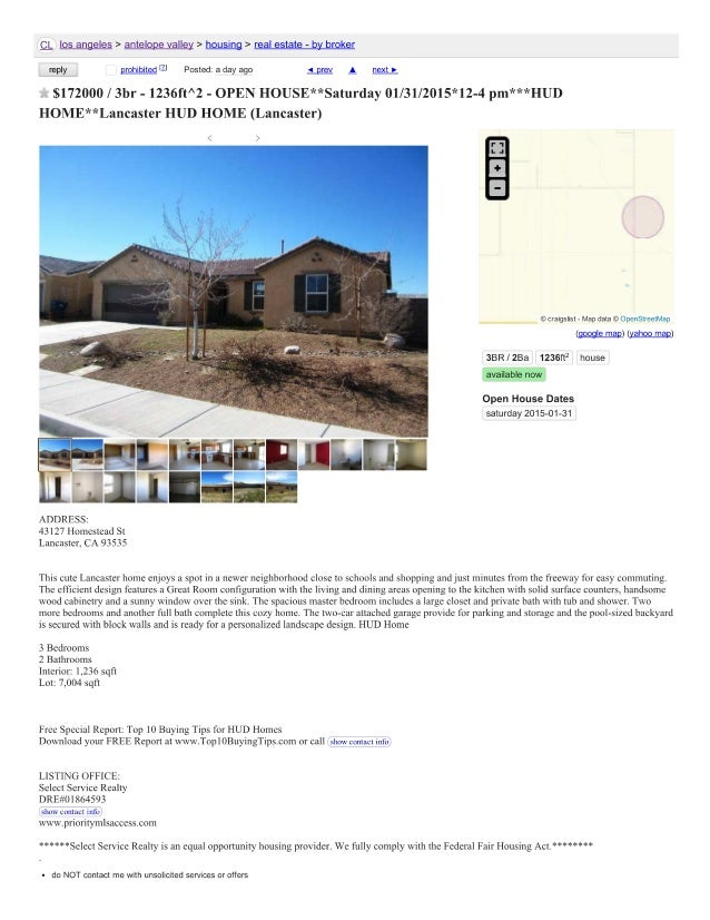 Craigslist Example advertising HUD Open House