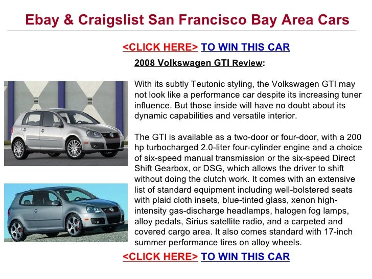 Ebay & Craigslist San Francisco Bay Area Cars