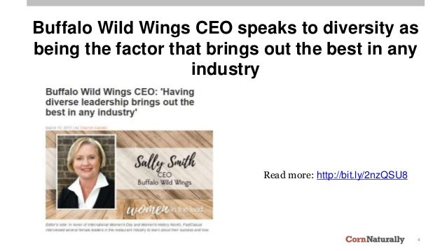 4 Read more: http://bit.ly/2nzQSU8 Buffalo Wild Wings CEO speaks to diversity as being the factor that brings out the best...