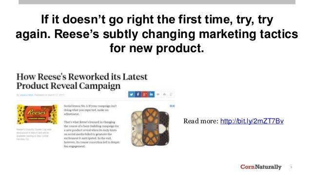 5 If it doesn't go right the first time, try, try again. Reese's subtly changing marketing tactics for new product. Read m...