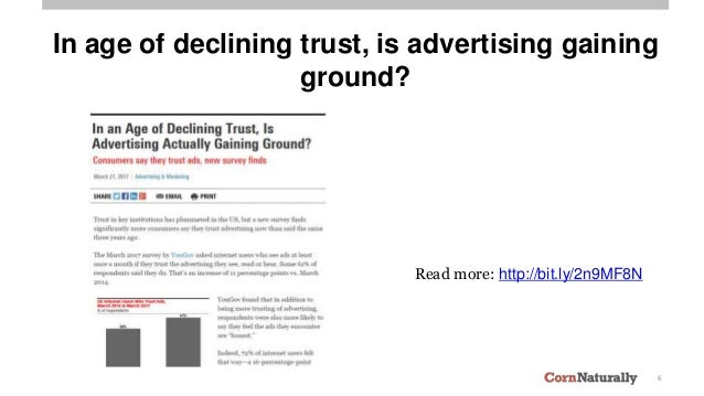 6 In age of declining trust, is advertising gaining ground? Read more: http://bit.ly/2n9MF8N