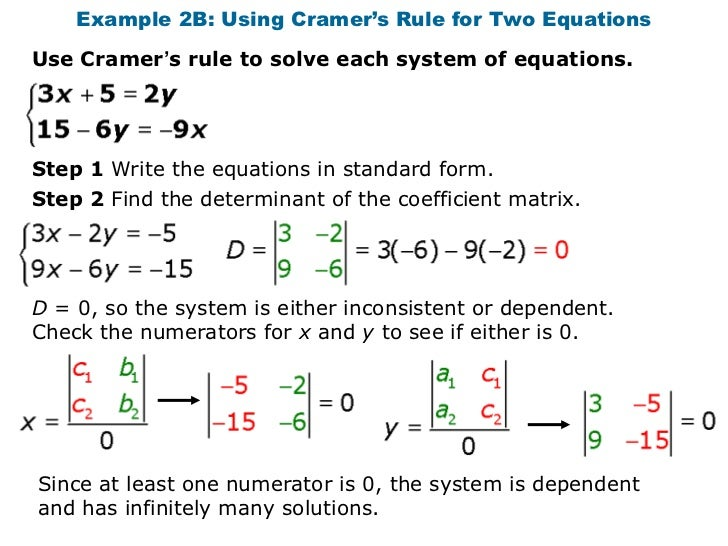 2x2 system of equations solvers