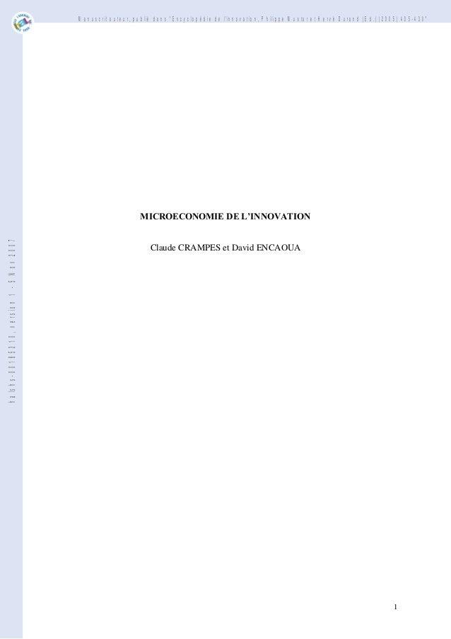 """Manuscrit auteur, publié dans """"Encyclopédie de l'innovation, Philippe Mustar et Hervé Durand (Ed.) (2005) 405-430""""  halshs..."""