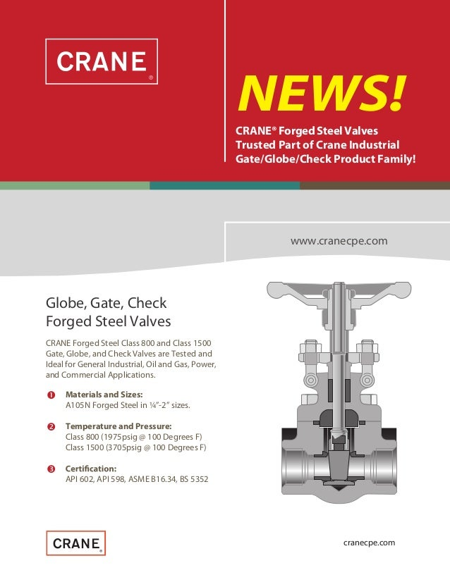    NEWS!CRANE®Forged Steel Valves Trusted Part of Crane Industrial Gate/Globe/Check Product Family! www.cranecpe.com CR...