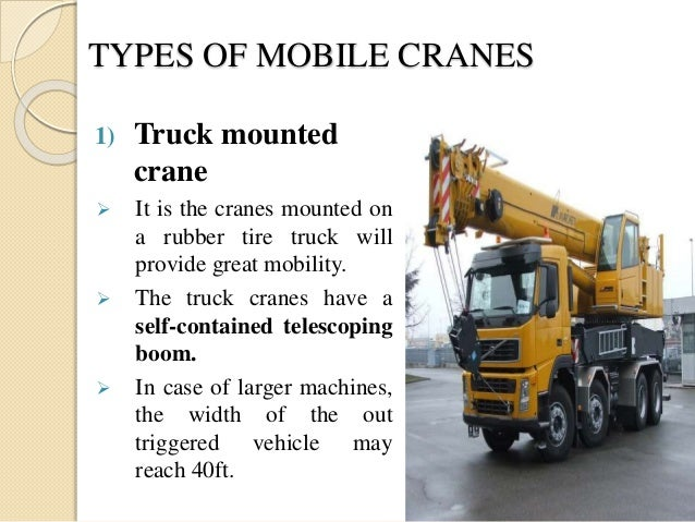 Types Of Mobile Cranes : Construction equipment crane hoisting