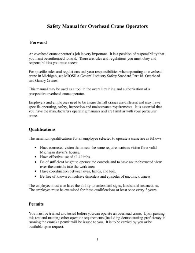 Crane operator safety procedure
