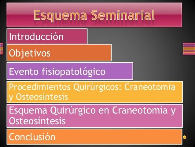 Introducción Objetivos Evento fisiopatológico Procedimientos Quirúrgicos: Craneotomía y Osteosíntesis Esquema Quirúrgico e...