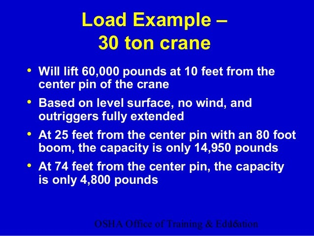 OSHA Office of Training & Education15 Load Example – 30 ton crane • Will lift 60,000 pounds at 10 feet from the center pin...