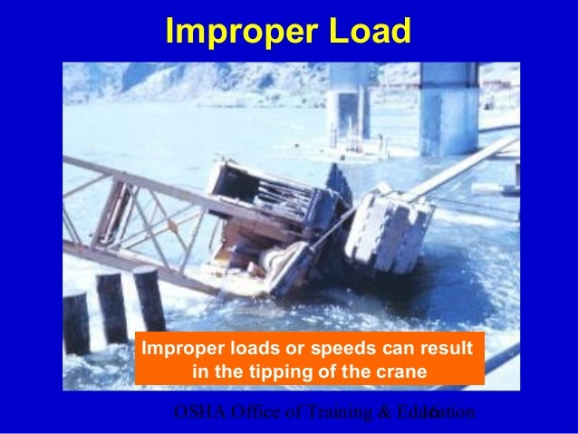 OSHA Office of Training & Education16 Improper Load Improper loads or speeds can result in the tipping of the crane