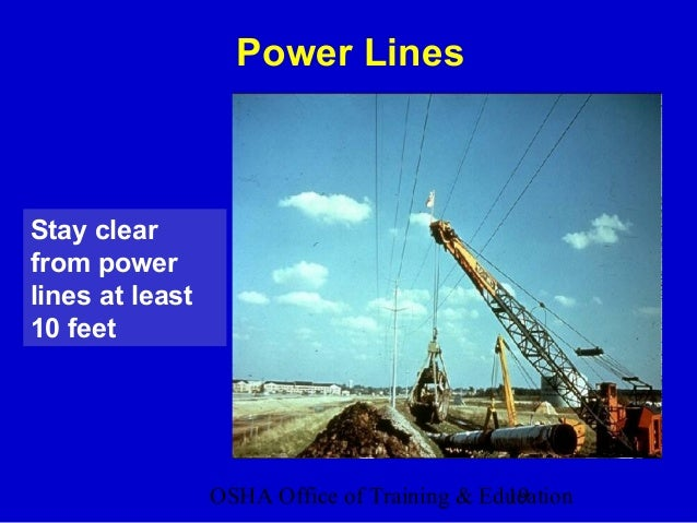 OSHA Office of Training & Education19 Stay clear from power lines at least 10 feet Power Lines