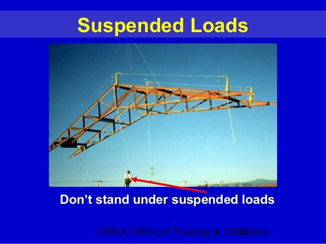 OSHA Office of Training & Education26 Suspended Loads Don't stand under suspended loads