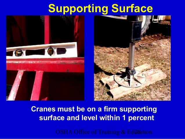 OSHA Office of Training & Education28 Supporting Surface Cranes must be on a firm supporting surface and level within 1 pe...