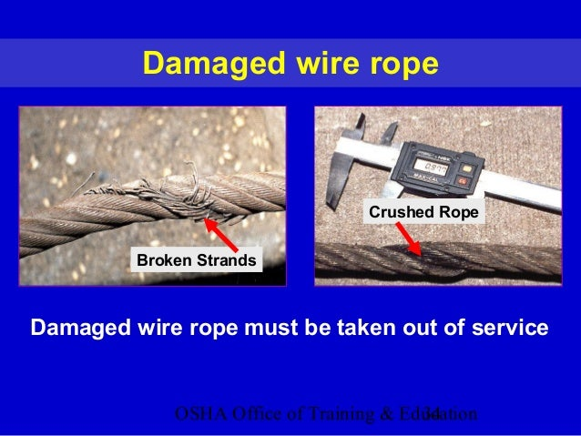 OSHA Office of Training & Education34 Damaged wire rope Broken Strands Damaged wire rope must be taken out of service Crus...
