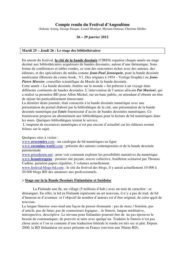 Compte rendu du Festival d'Angoulème           (Sidonie Astorg, George Dasque, Lionel Monéger, Myriam Ourteau, Christine S...