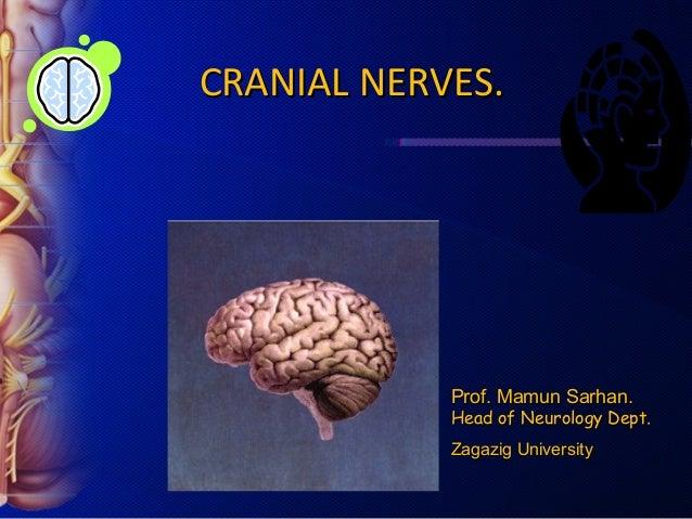 CRANIAL NERVES.            Prof. Mamun Sarhan.            Head of Neurology Dept.            Zagazig University